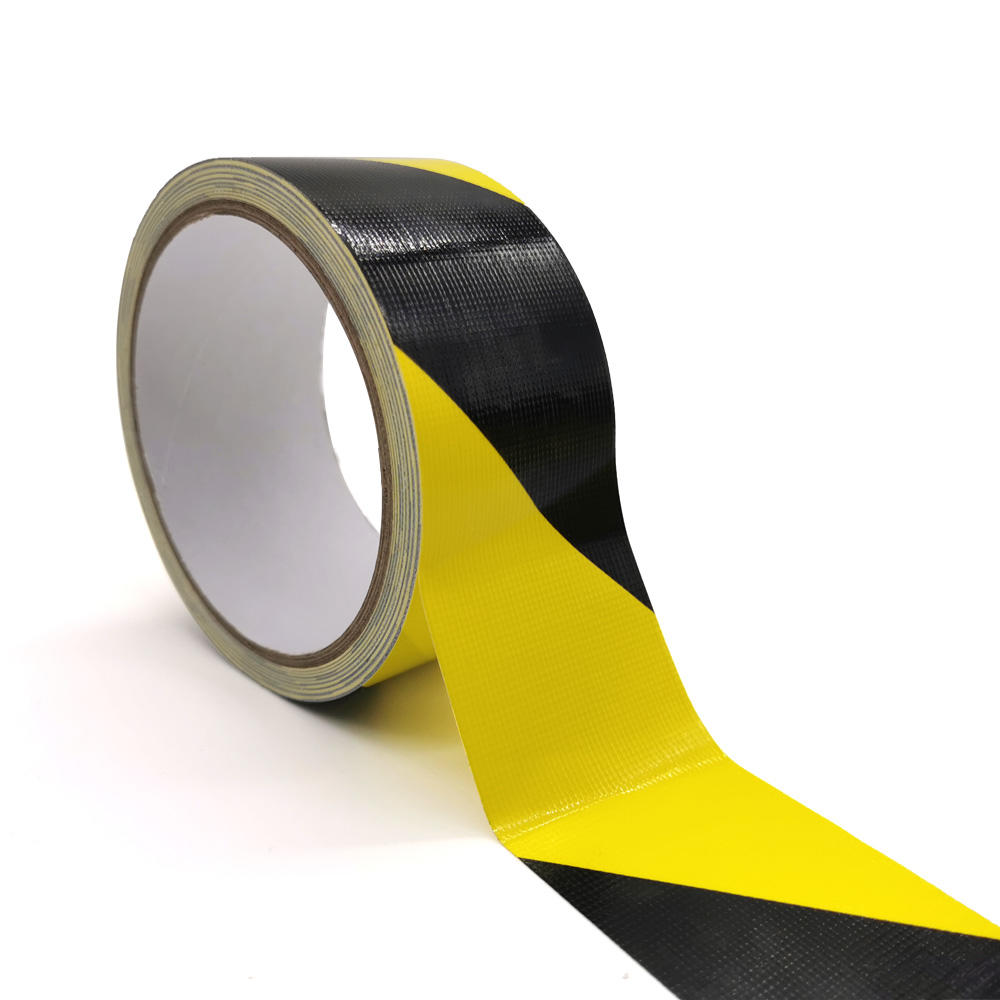 Hazard black yellow coloured warning barrier tape self adhesive road floor marking caution tape
